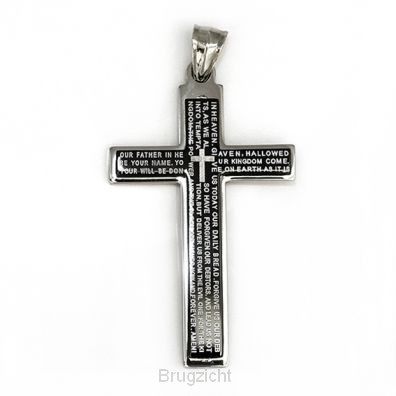 Pendant cross our Father  black inlay