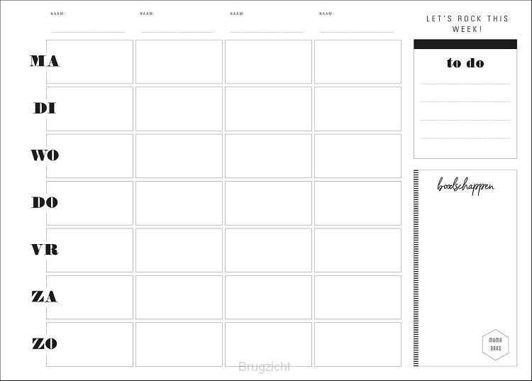 Weekplanner whiteboard zwart